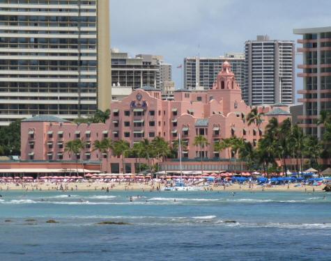 Pink Hotel On Waikiki Beach Hawaii
