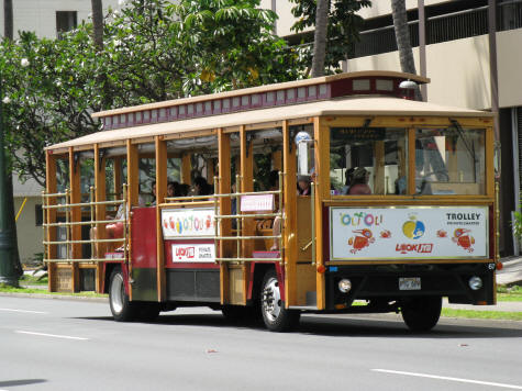 Trolley Busses in Waikiki Hawaii